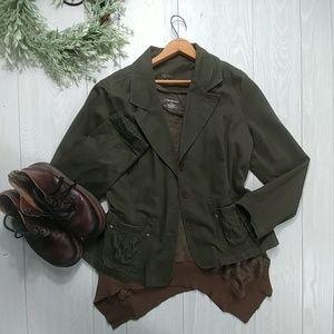 Lane Bryant raw hem tunic & Sonoma military jacket